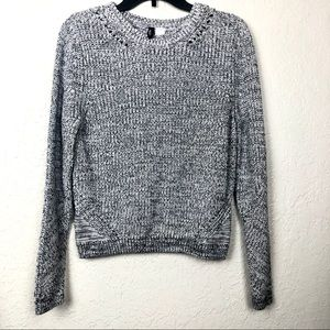 Divided Knit Sweater Black White Large Crewneck